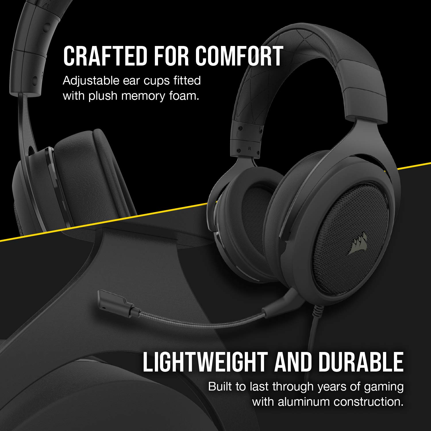 Adjustable Memory Foam Ear Cups, Lightweight, Noise-Cancelling Detachable Microphone with PC, PS4, Xbox One, Switch and Mobile Compatibility Green Corsair HS50 PRO Stereo Gaming Headset