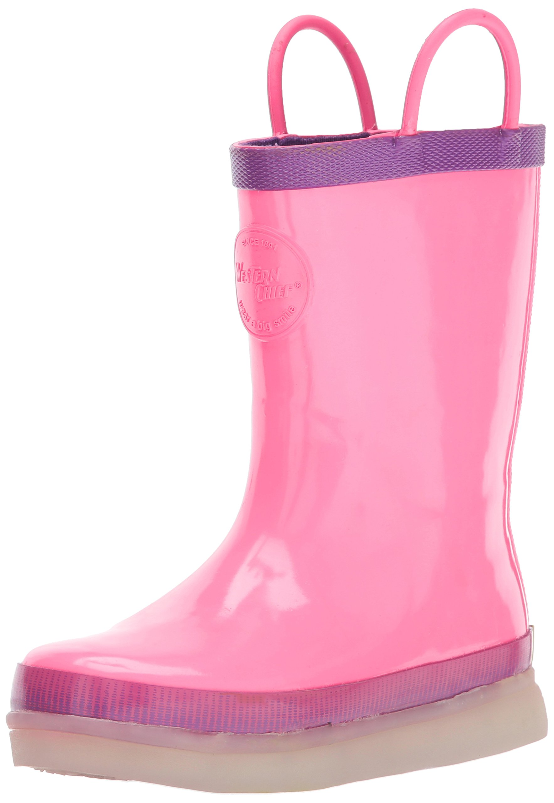 Western Chief Kids Rechargeable LED Rain Boot, Pink, 11 M US Little Kid