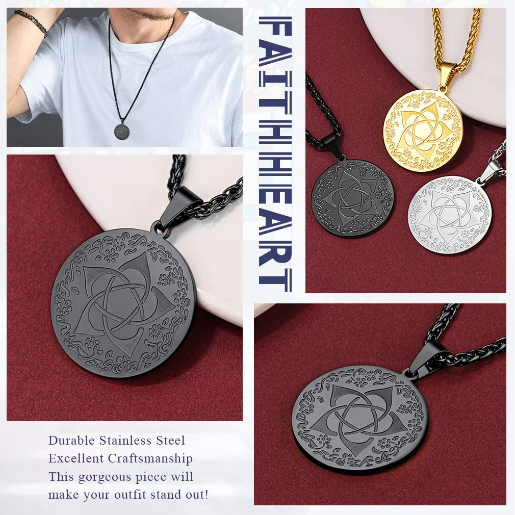 FaithHeart Buddha Head Lotus Flower Necklace Buddhist Amulet Kalachakra Pendant Om Mani Padme Hum Necklace Powerful Protection Buddhism Jewellery