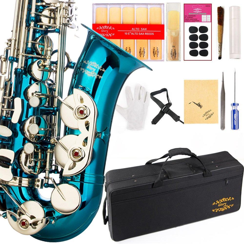 Saxofon Alto Azul/plateado Glory Con Funda Y Accesorios Xmp