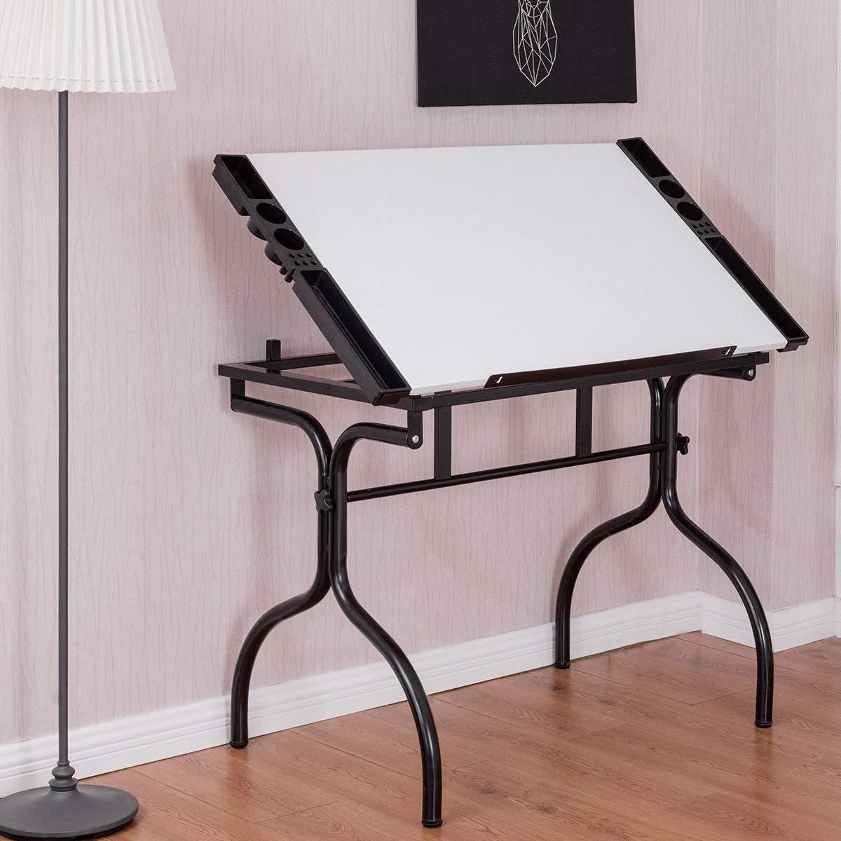 Tangkula Adjustable Drafting Table Folding Hobby Studio Art & Craft Station Drawing Desk
