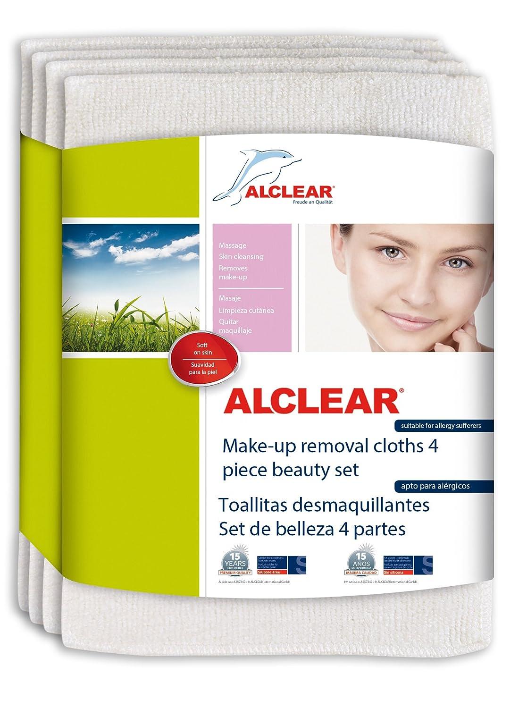 ALCLEAR 200803 Set de Belleza, Toallitas Desmaquillantes, 18 x 14 cm, Blanco, 4 Unidades: Amazon.es: Coche y moto