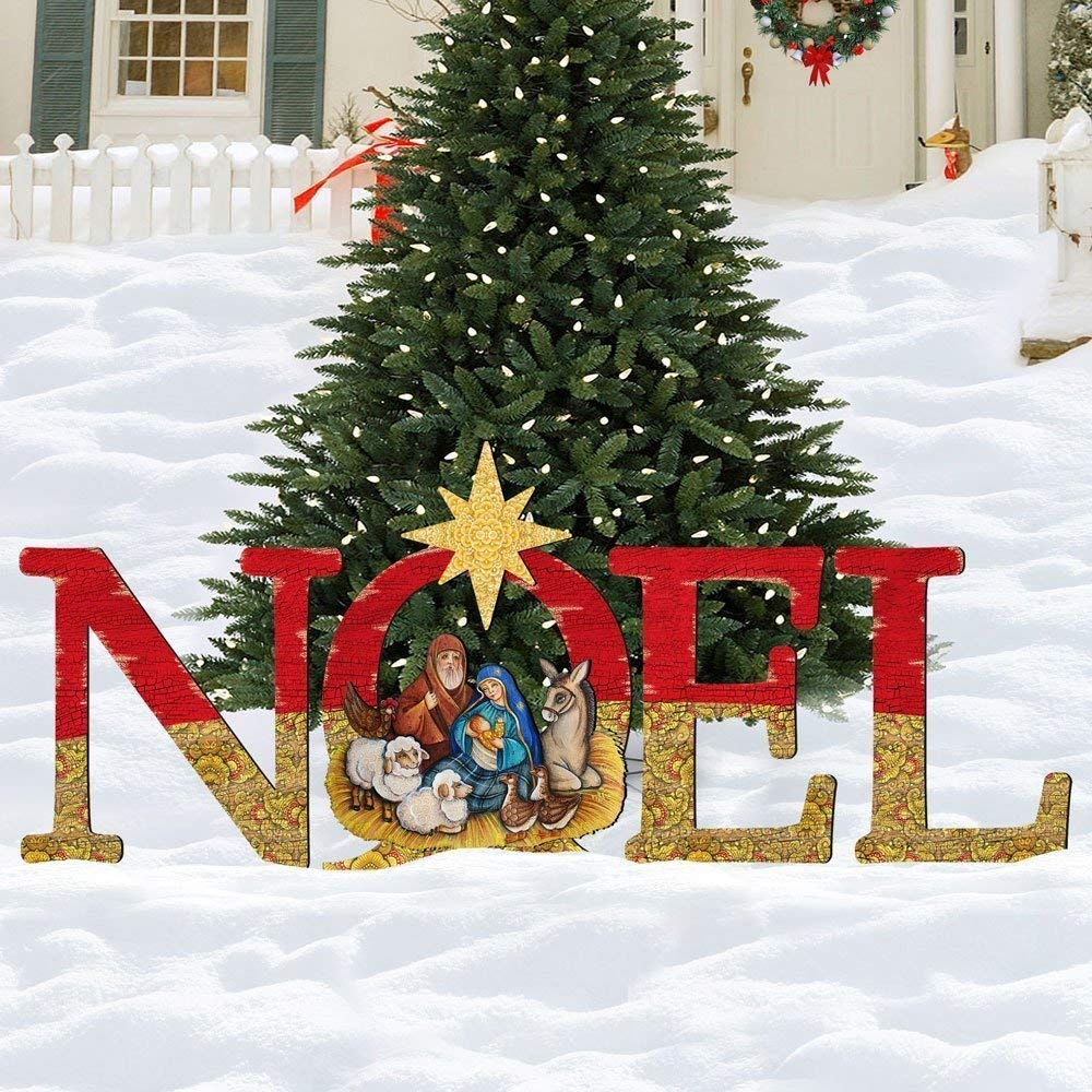 Outdoor Nativity NOEL Display Holiday Wooden Free-Standing Outdoor Decoration 8121458F