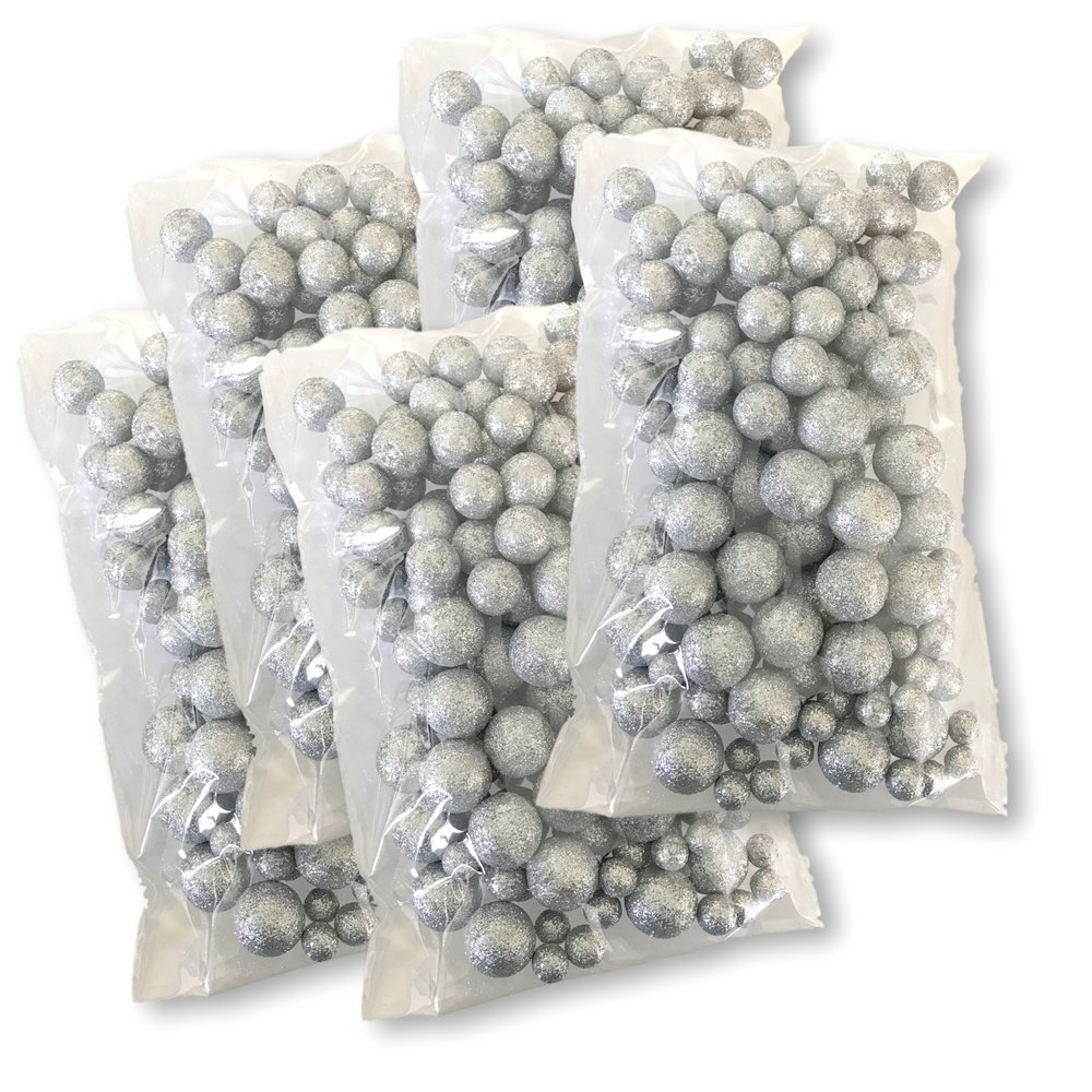 BANBERRY DESIGNS Silver Iridescent Foam Balls - 5 Bag Set of Glittered Vase Filler Decorative Balls - Table Scatter Decorations - Silver Party Decor - Sizes of Mini Glittery Silvery Snow Balls by BANBERRY DESIGNS