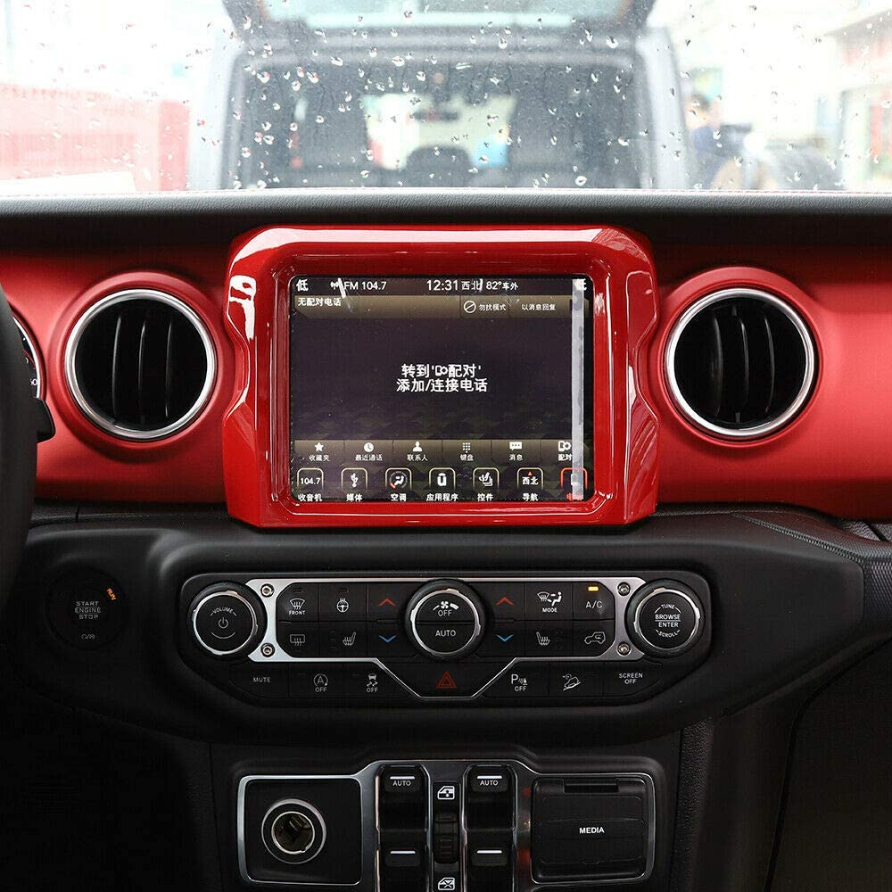 RT-TCZ GPS Navigation Panel Frame Trim Cover Decoration 8.4 inch Car Accessories Carbon Fiber ABS for Jeep Wrangler JL 2018 2019 2020 Rubicon Red
