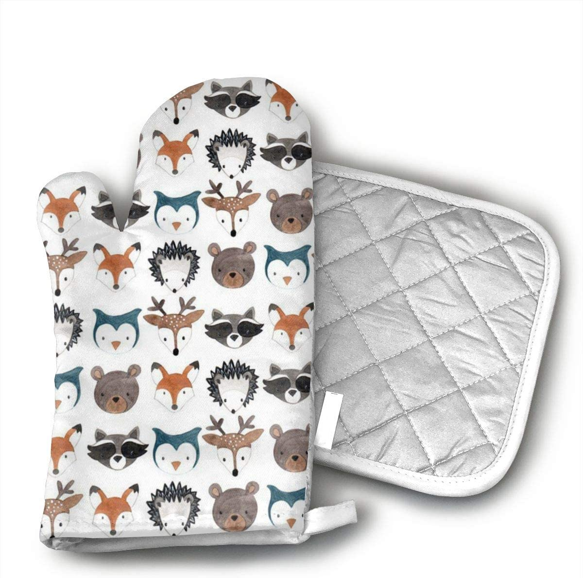 JFNNRUOP Woodland Creatures Deer Bear Mouse Oven Mitts,with Potholders Oven Gloves,Insulated Quilted Cotton Potholders