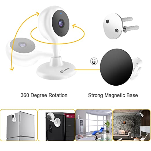 Amazon Com Baby Mini Monitors Wireless Wifi P2p Surveillance Camera 720p Hd Home Pet Video Nanny Cam With Two Way Talk Audio Pan Tilt Remote Security For