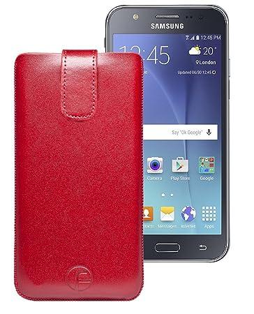 Favory Tasche Leder Etui Samsung Galaxy J3 (2016) DUOS ECHT Ledertasche Hülle Schutzhülle (Lasche mit Rückzugfunktion) rot