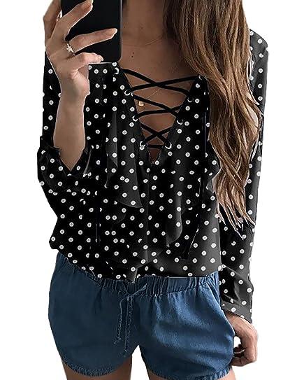 c06e865d393 Calflint Women's Sexy Flouncing Lace up Long Sleeve Casual Blouse Shirts