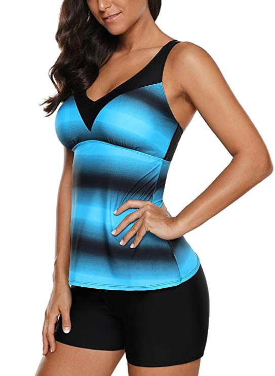 72e84a11dd Grace's Secret Swimsuits for Women Criss Cross Two Piece Tankini Top with Boyshorts  S-XXXL at Amazon Women's Clothing store: