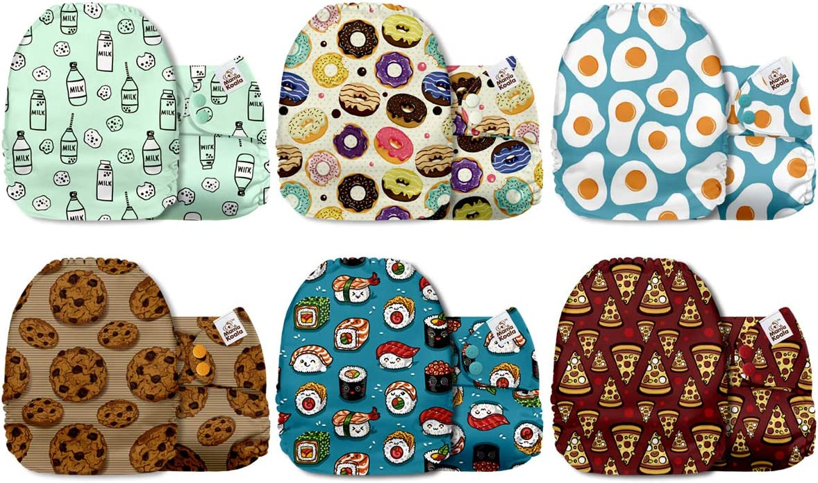 Mama Koala One Size Baby Washable Reusable Pocket Cloth Diapers, 6 Pack with 6 One Size Microfiber Inserts (Nom Nom Time)