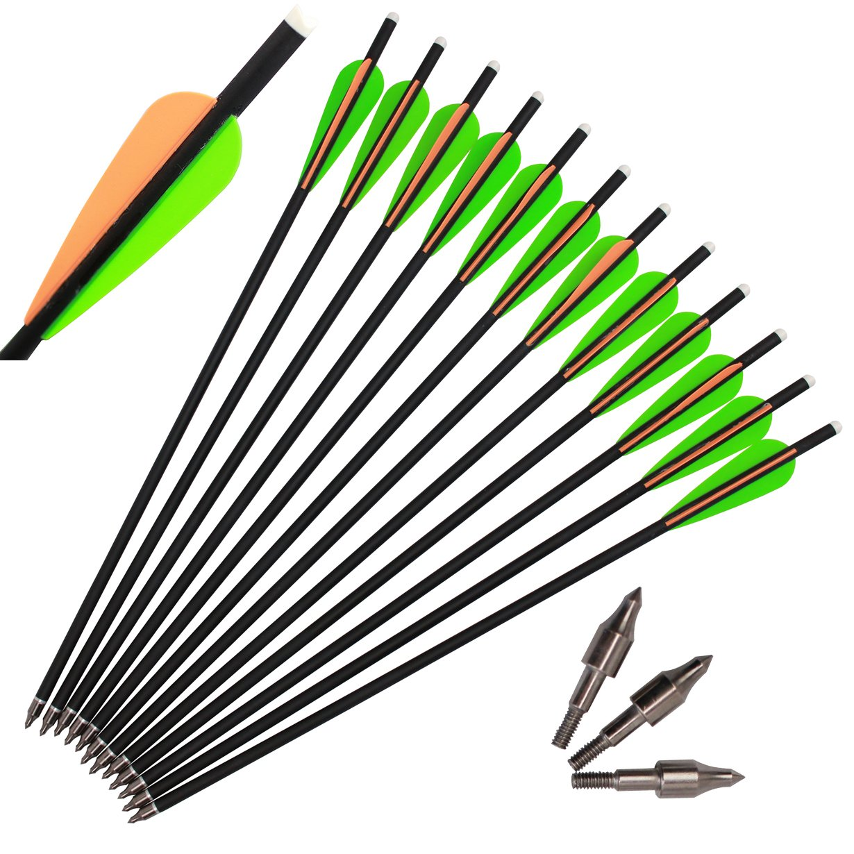 kaimei Archery Carbon Arrow 20 Inch Crossbow Bolts Arrow With 4 Inch vanes for Competition Practice Hunting (Pack of 12)