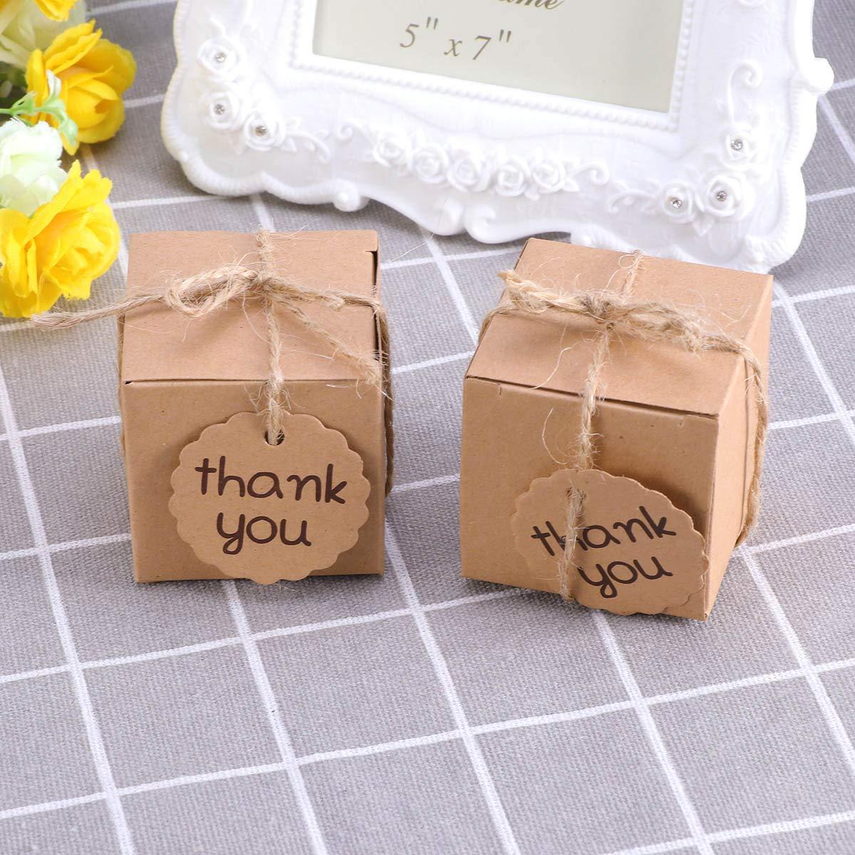 Toyvian Scatole Carta Kraft di Caramelle con Corda Etichette Thank You per Regali di Pasqua Compleanno Battesimo 100PCS