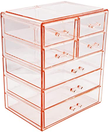 Sorbus Cosmetics Makeup And Jewelry Big Pink Storage Case Display  3 Large And 4 Small Drawers Space  Saving, Stylish Acrylic Bathroom Case by Sorbus