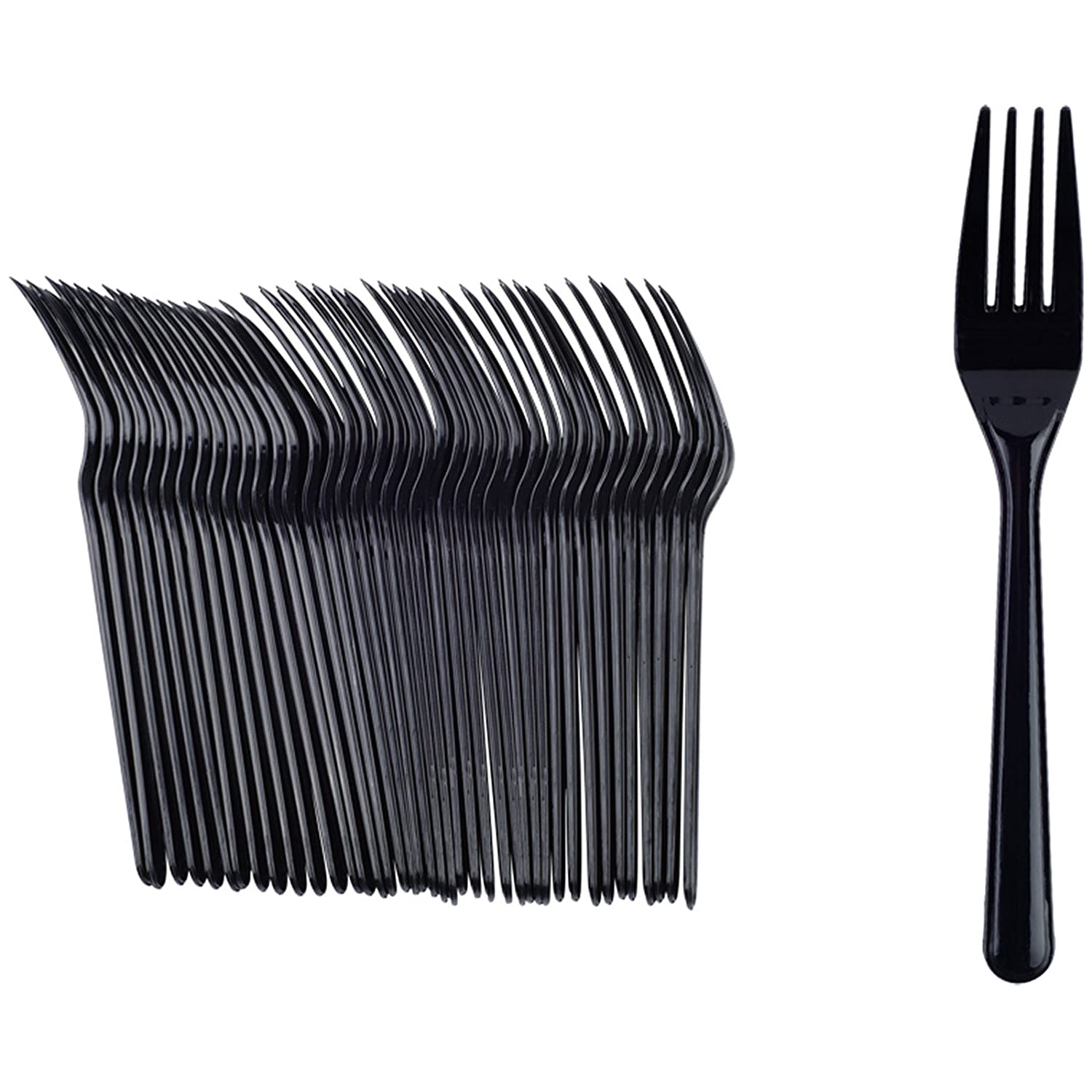 40 x Disposable Deluxe Strong Black Plastic Party BBQ Forks