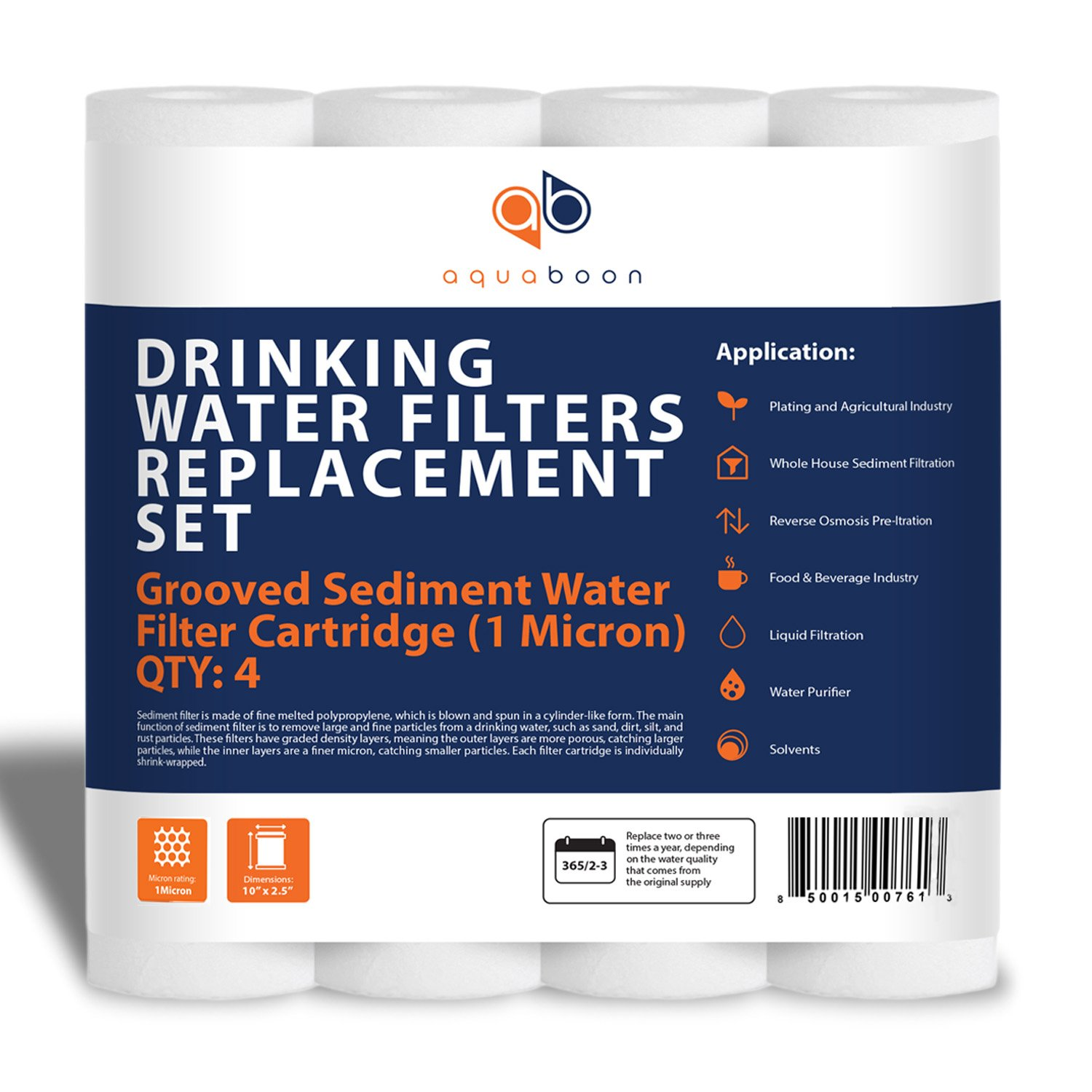 """Aquaboon 1 Micron 10"""" x 2.5"""" Grooved Sediment Water Filter Replacement Cartridge for Any 10 inch RO Unit 
