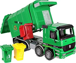 Click N' Play Friction Powered Garbage Truck Toy with Garbage Cans Vehicle