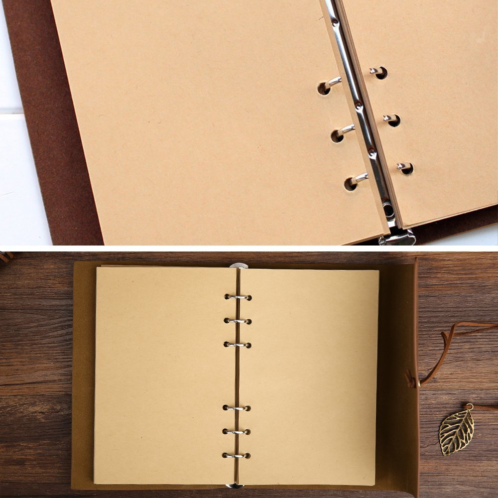 Leather Journal Writing Notebook - Leather Bound Daily Notepad for Men & Women Unlined Paper Medium 7 x 5 inches, Best Gift for Art Sketchbook, Travel Diary & Notebooks to Write in by Foster Gadgets (Image #9)