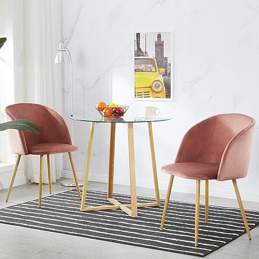 IPOTIUS Pack 2 Sillón Lounge Terciopelo Retro, Silla de Comedor ...