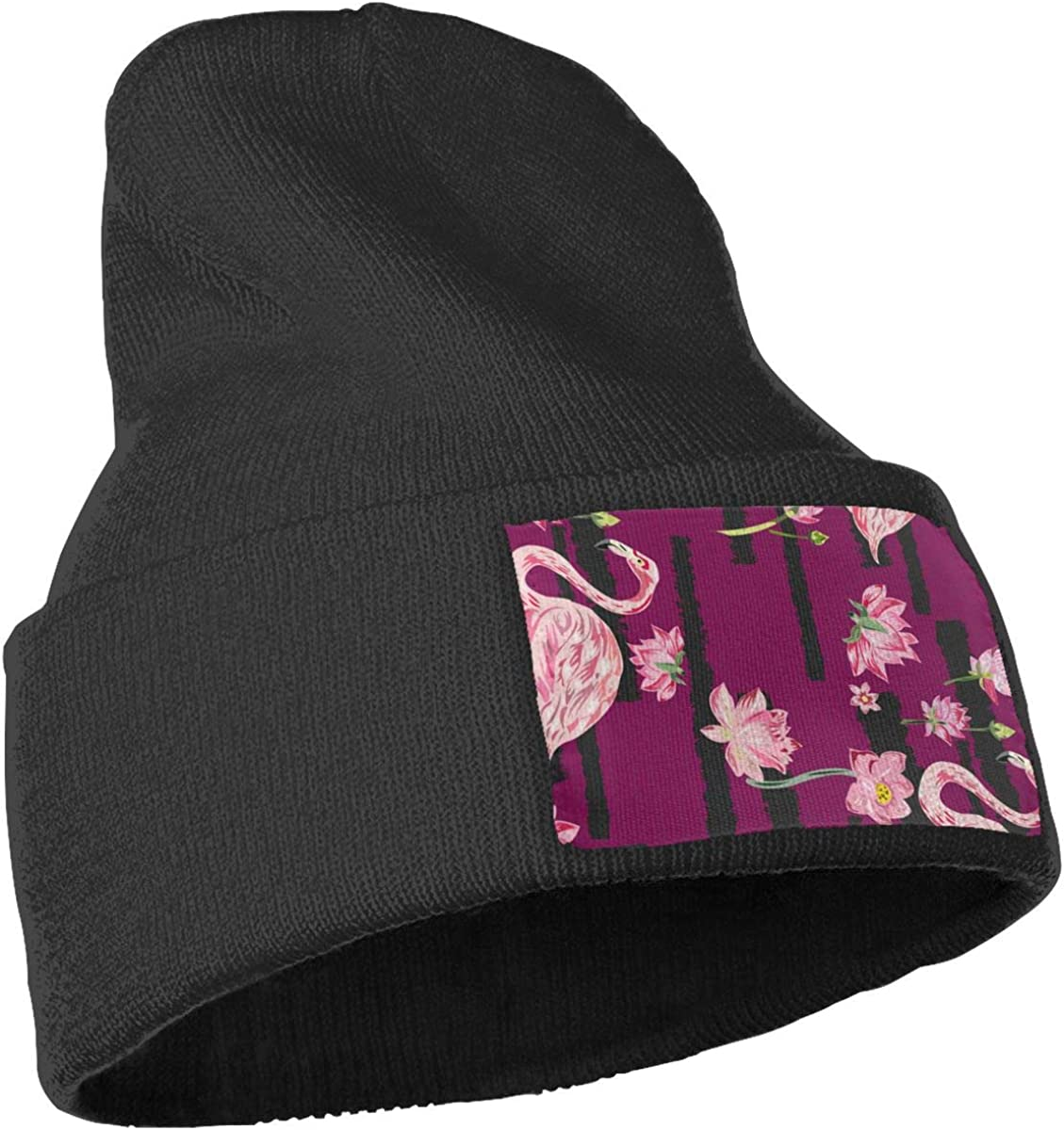 Beautiful Red Flowers and Flamingos Unisex Fashion Knitted Hat Luxury Hip-Hop Cap