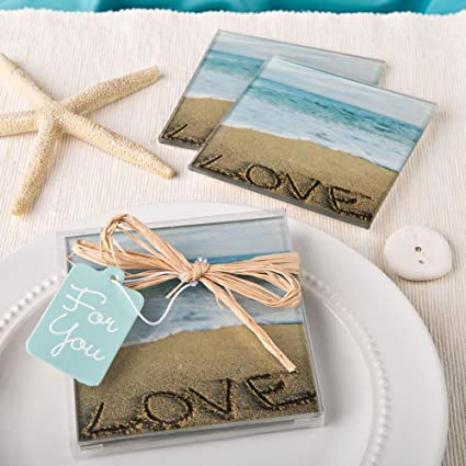 Beach Love Themed Set Of 2 Glass Coasters Summer Wedding Favors 36