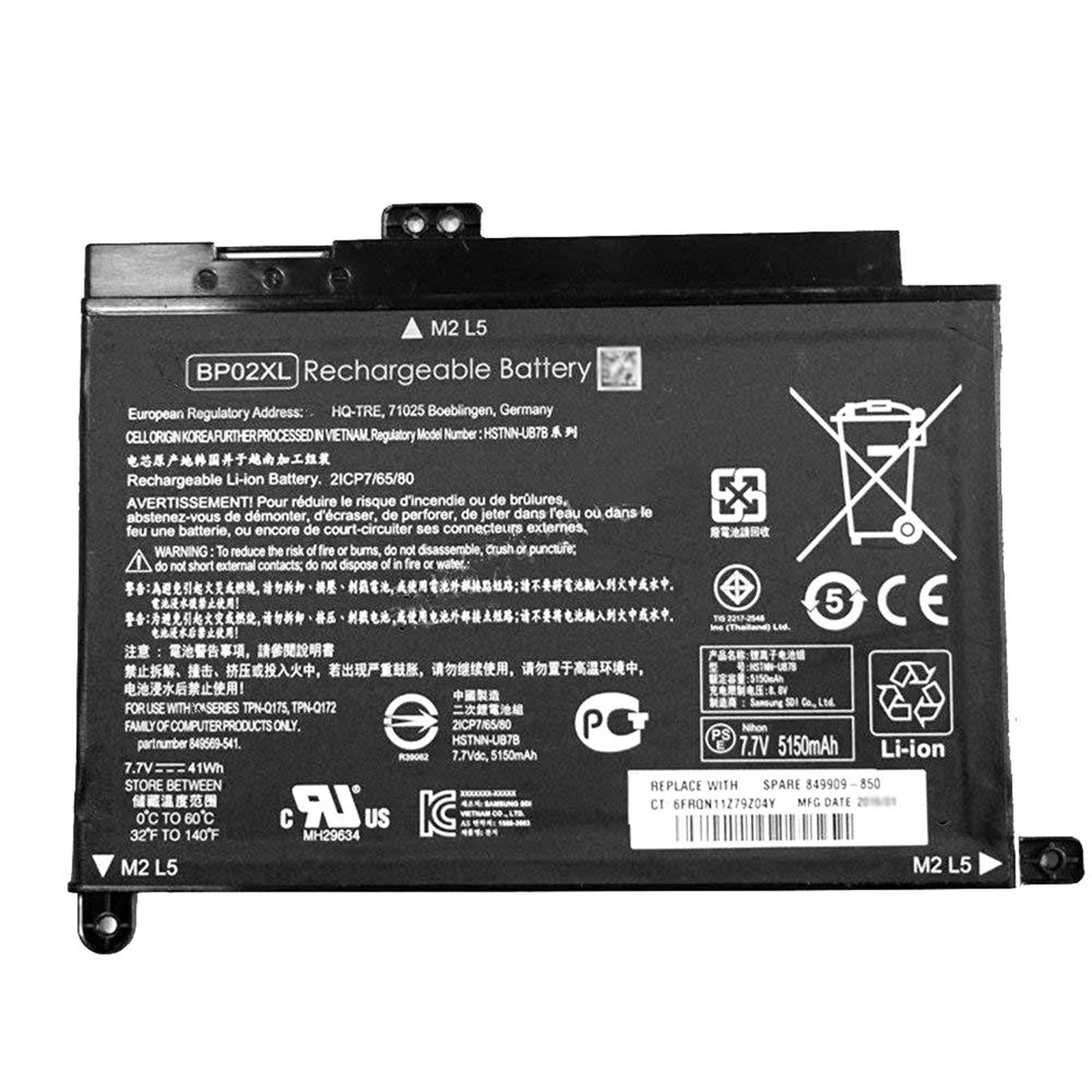 Bateria BP02XL 849909-850 7.7V 41W HP Pavilion PC 15 15-AU01