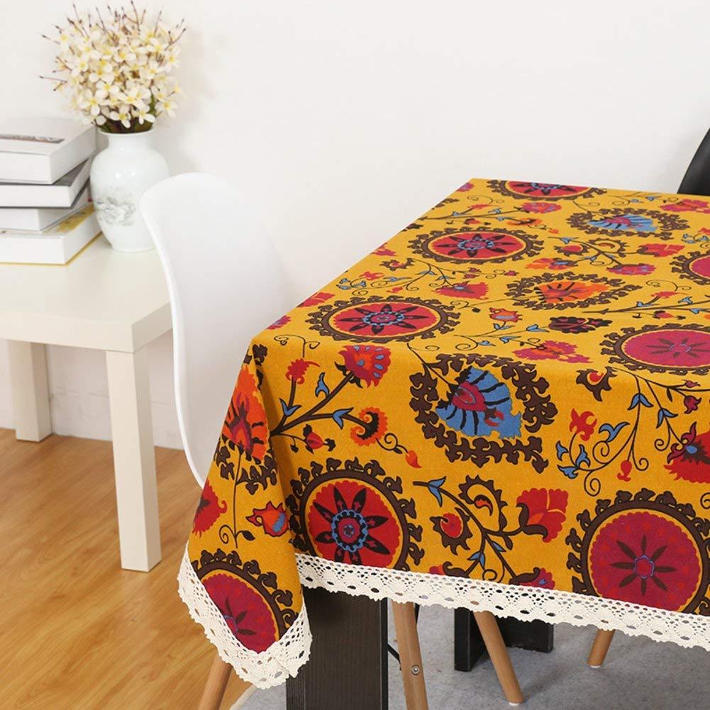 Shuangdeng ビンテージ綿のテーブルクロス、研究レストランのごちそうパーティーのための滑り止めの装飾的なカバー布、 (Color : A, サイズ : 140x250cm(55x98inch)) 140x250cm(55x98inch) A B07S6LBG2Q
