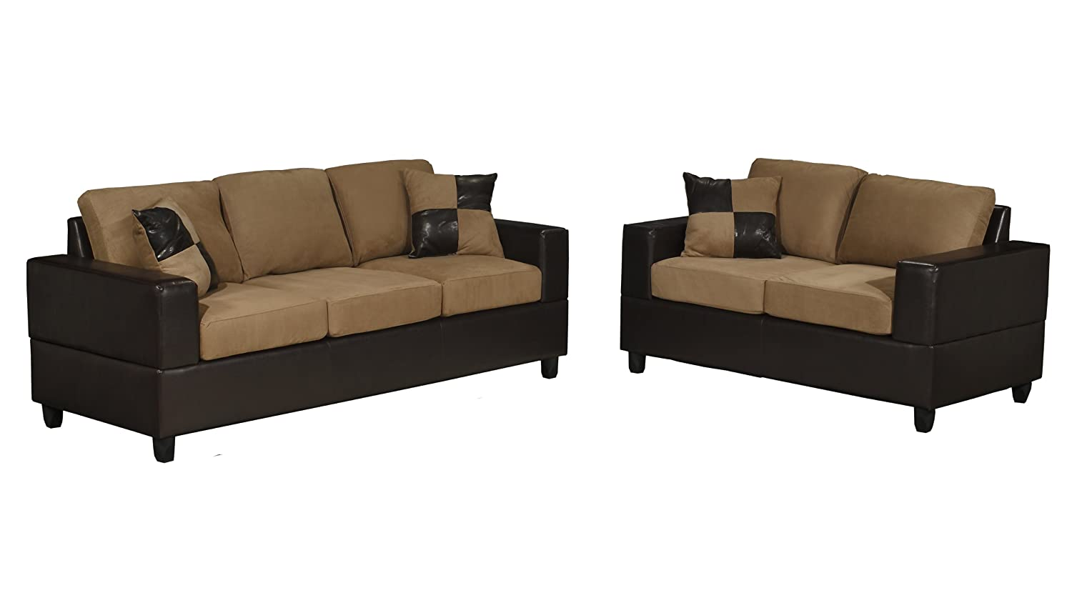Amazoncom Bobkona Seattle Microfiber Sofa and Loveseat 2Piece