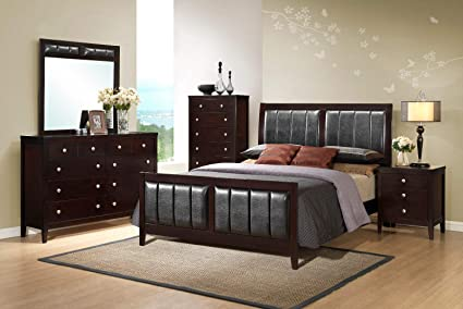 Amazon.com: Giantex 5 Piece Wood Bedroom Sets Bed Frame Storage End ...