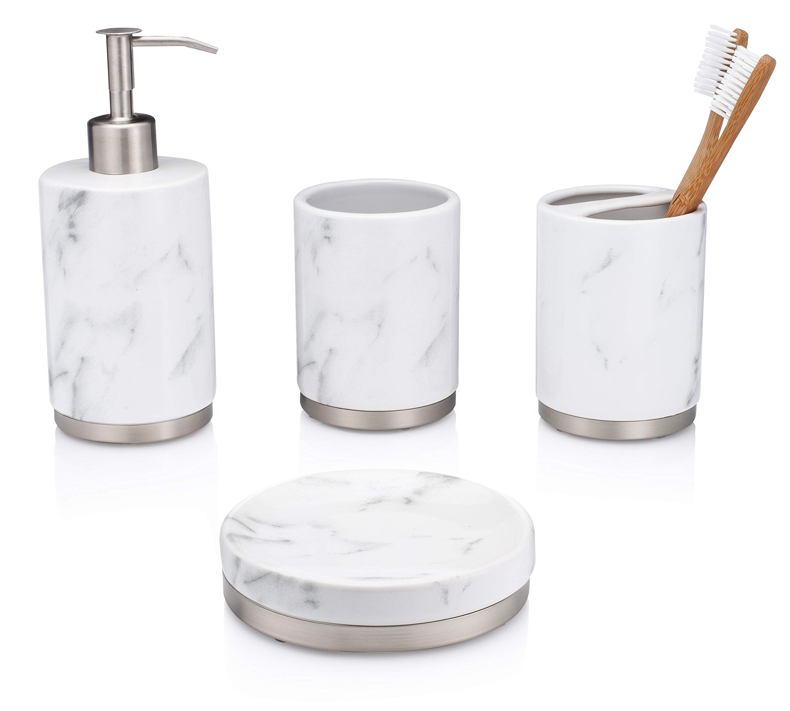 EssentraHome 4-Piece White Ceramic Bathroom Accessory Set with Marble Look, Complete Set Includes: Soap/Lotion Dispenser, Toothbrush Holder, Tumbler, and Soap Dish - BEAUTIFUL MARBLE LOOK: This bathroom accessory set has a beautiful printed marble look, making it look super elegant BEAUTIFUL CERAMIC: This set is made from beautiful, quality ceramic. Giving this set a touch of elegance, as well as a quality feel STAINLESS-STEEL PUMP: The lotion/soap dispenser included in this set comes with a brushed stainless-steel pump. With the stainless-steel pump you can rest assure that there will be no rust despite the humid conditions a restroom might bring - bathroom-accessory-sets, bathroom-accessories, bathroom - 71QQKvV9JDL -