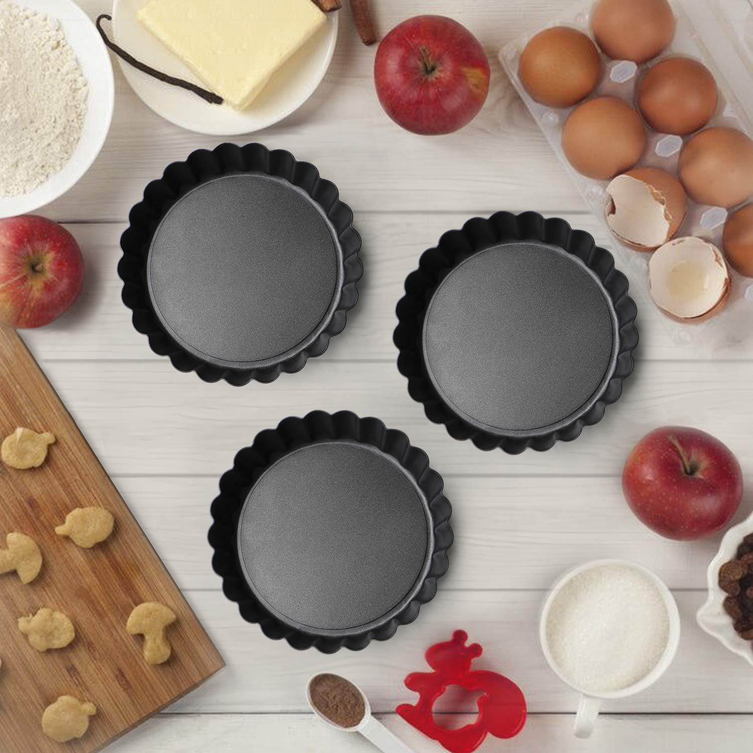 6 Pack Quiche Pans 4 inch Non-Stick Carbon Steel Mini Tart Pans with Removable Bottom with Pastry Brush /& Spatula