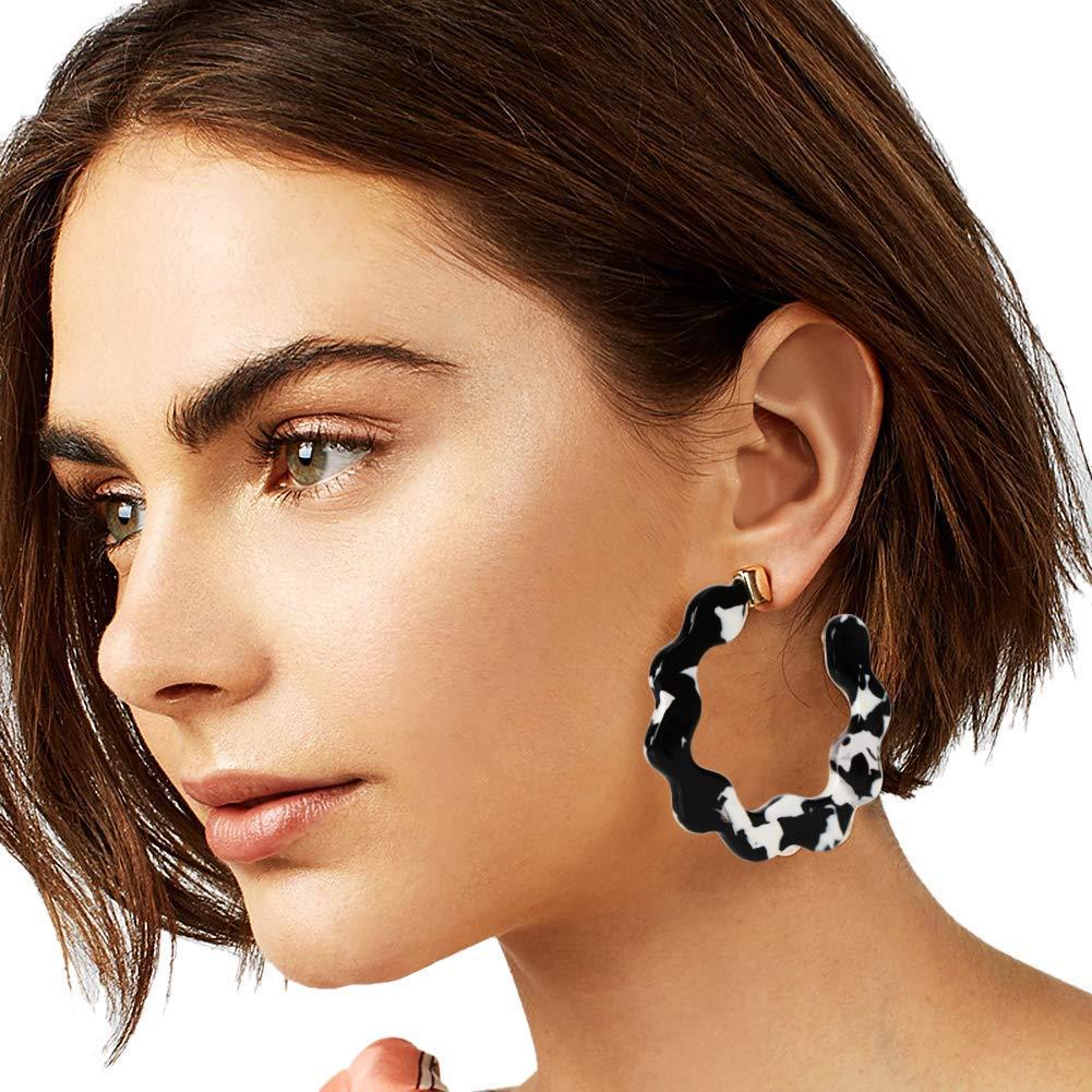 Acrylic Hoop Earrings Statement Tortoise Shell Earrings for Women Girls Resin Hoop Earrings