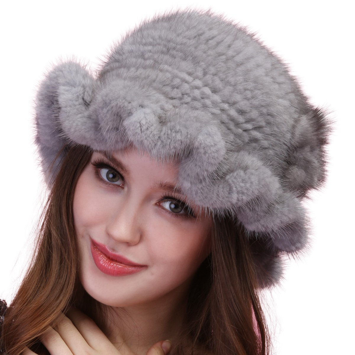 Mandy's Women's Winter Genuine Mink Flower Fur Caps New Snow Show Hats Multicolor (one size fit most, light grey)