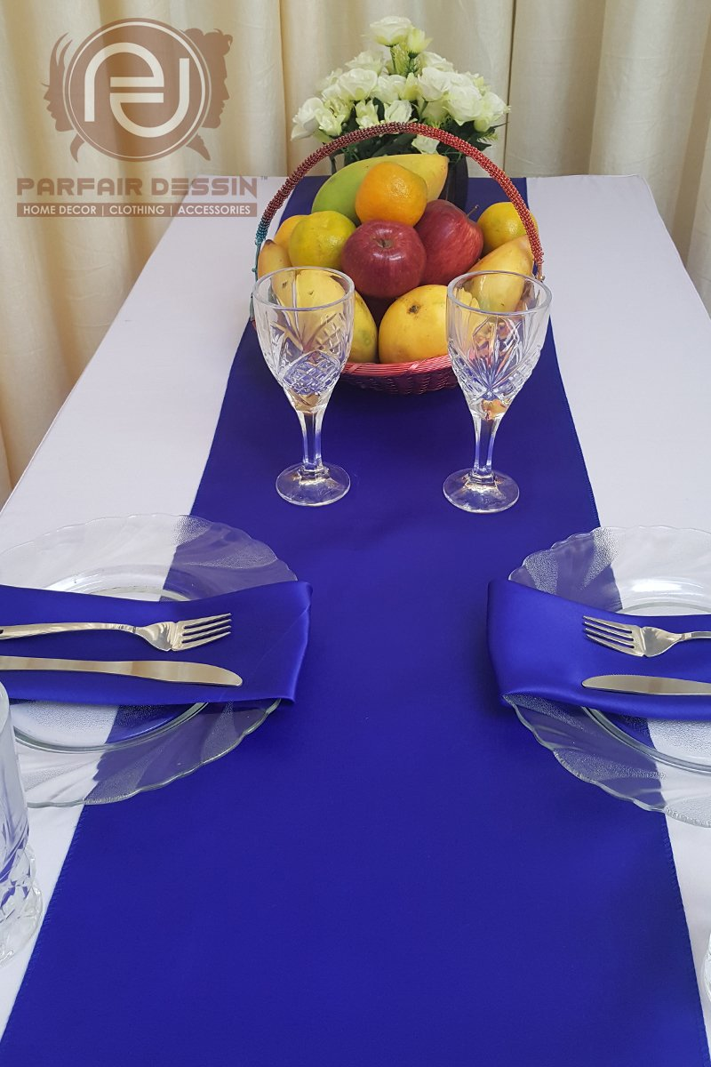 Parfair Dessin Pack of 10 Satin Table Runners 12 x 108 inch for Wedding Banquet Decoration, Bright Silk and Smooth Fabric Party Table Runner - Royal Blue by Parfair Dessin (Image #3)