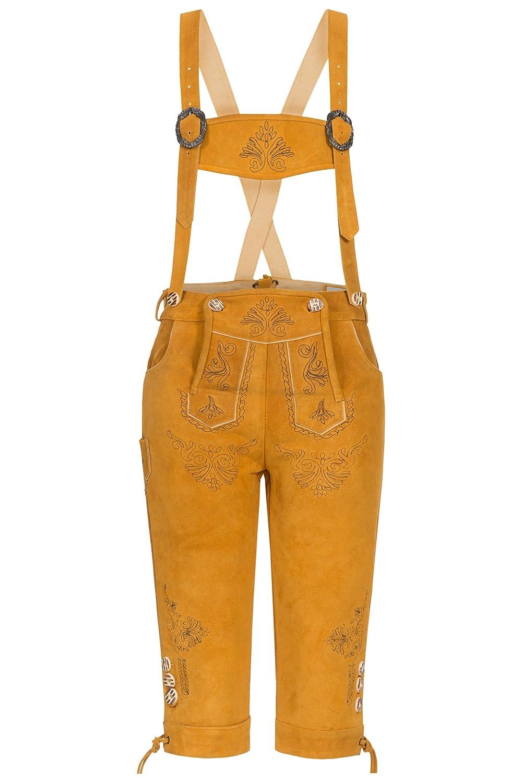 Blickfangende Damen Trachten Lederhose orig. von Bohmberg Goldgelb Kniebund Traditionell aus feinem Rindsvelour Leder mit Hosenträger 2016er Kollektion!!!