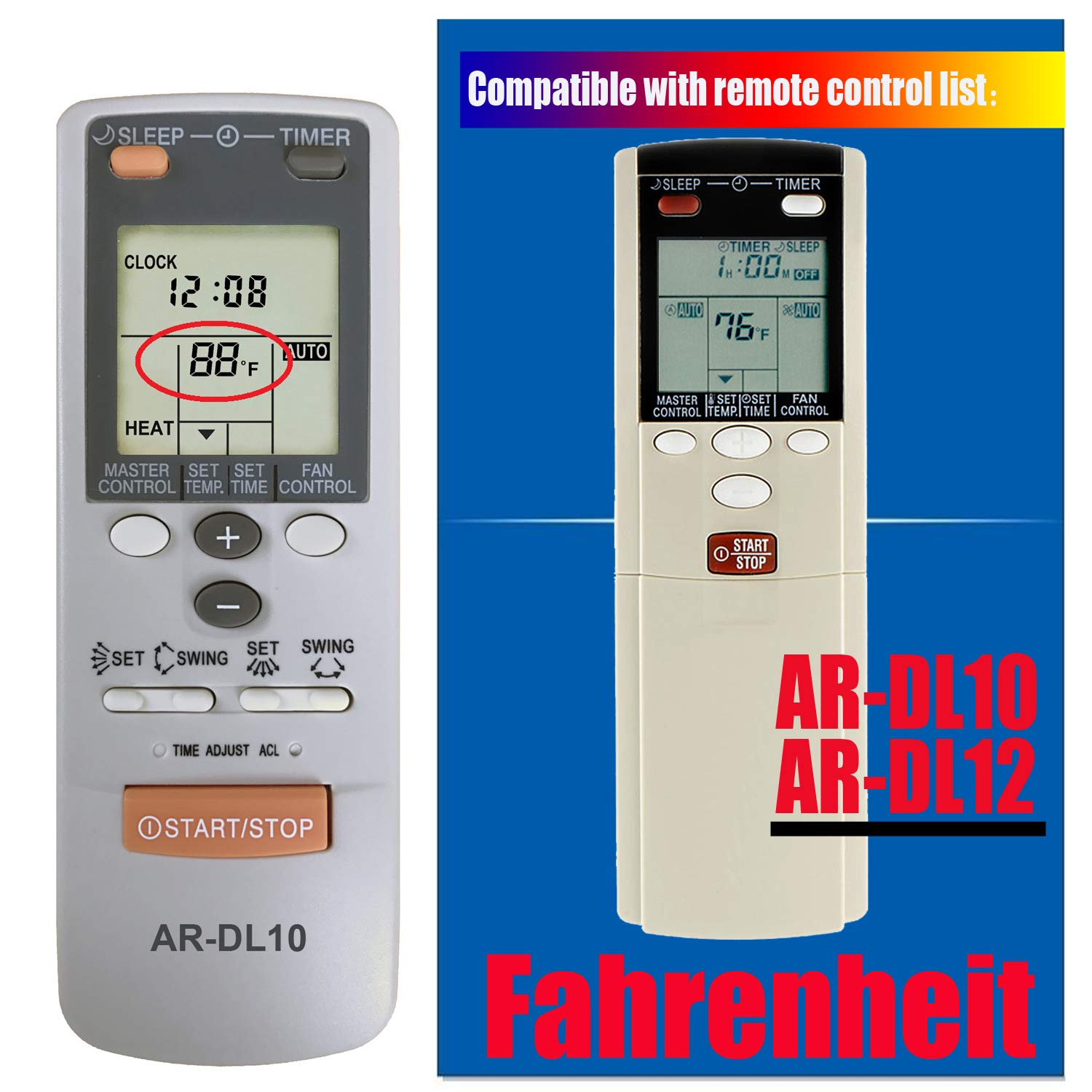 Replacement for Fujitsu Air Conditioner Remote Control for Model AR-DL10 AR-DL12 ASU18C1 ASU18R1 ASU24C1 ASU24R1 ASU30C1 ASU18T ABU22 ABU30 ABU36 (Display in Fahrenheit Only)