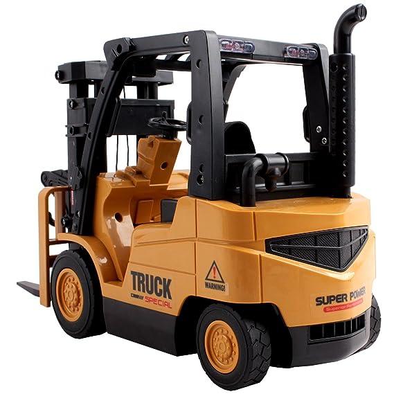 deAO RC Toro Hidraulico Grúa Elevadora 2en1 - Vehiculo Montacargas con Luces, Sonidos y Accesorios Incluidos: Amazon.es: Juguetes y juegos
