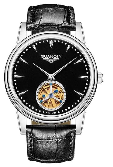 Reloj de pulsera para hombre de lujo, estilo casual, analógico, automático, mecánico, de piel, esqueleto: Amazon.es: Relojes