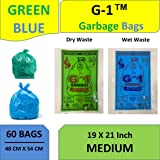 G1-2 Packs Medium Disposable Garbage Bags for Wet and Dry Waste (30 Pcs Blue and 30 pcs Green) -1 Packs Each