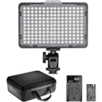Neewer 176 LED Video Light Lighting Kit: Dimmable 176 LED Panel, with 2600mAh Li-ion Battery, USB Battery Charger and Carrying Case for Product and Portrait Photography