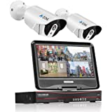 A-ZONE 200万画素タイプ POE給電カメラ 防犯カメラキット 10.1インチモニター付き 最大4台カメラ増設可能 ネットワークカメラ 暗視撮影 cctvセキュリティカメラシステム 監視カメラ ナイトビジョン 防水カメラ 2ch ハイビョン HD NVRキット 屋内/屋外 クイックリモートアクセス 無料アプリ 遠隔監視対応 (ハードディスク無し)