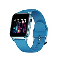 Hoteon FT02 1.4 inches Full Touch Control and Customized Square Dial Display, Health and Fitness Smartwatch with IP68 Waterproof, Pedometer , Heartrate , Blood Oxygen Meter (Blue)