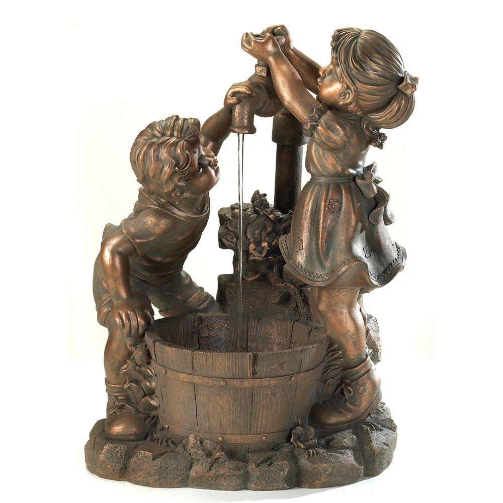 enjoyable home depot garden statues. Amazon com  Bronze Look Children Fun And Play Water Garden Fountain Home Kitchen