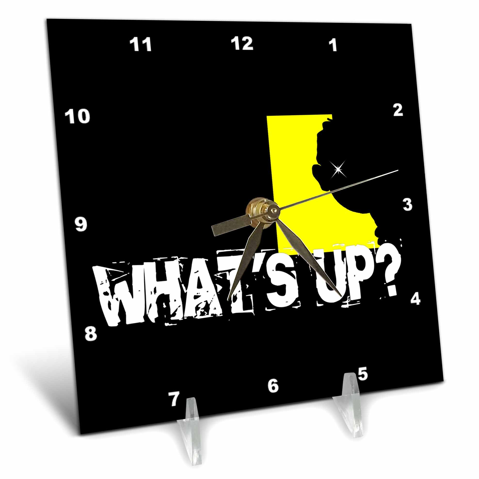 3dRose Alexis Design - Funny - A head in an yellow window. What is up. Funny design on black - 6x6 Desk Clock (dc_271648_1)