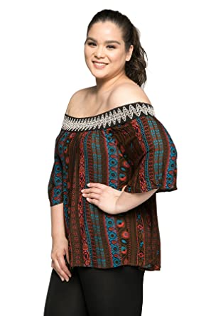 f6b8a7ce43b26 Hadari Women s Plus Size Casual Off Shoulder Boho Blouse Top - Brown - XXX- Large