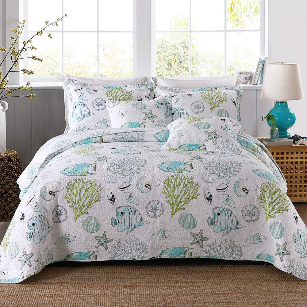Kaleidoscope Floral Style BEDOVEL Queen Size Quilt Sets-3 Pieces Bedding Bedspread Coverlet Set