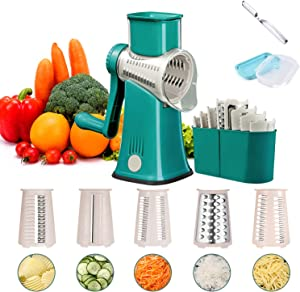Rotary Cheese Grater with Handle Vegetable Slicer Tumbling Box Shredder Mini Food Processor Stainless Steel Zester Kitchen Gadgets Onion Slicer Kitchenware Grinder Tools (Green)
