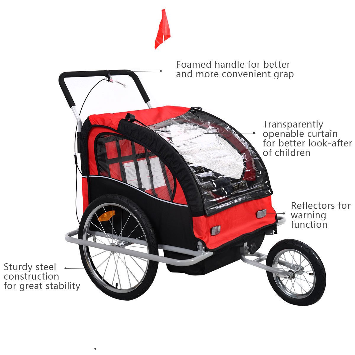 Bicycle Carrier Double Baby Bike Trailer Jogger Stroller 2 in 1 by Caraya (Image #3)