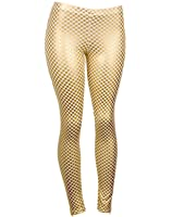 Sexy Comfortable White Leggings w/ Gold Plated Checker Design