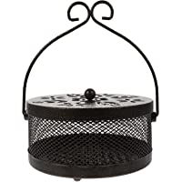 Abaodam Mosquito Coil Holder Incense Coil Burner with Handle Portable Round Iron Home Fragrance Coil Burner for Camping…